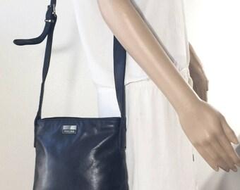 Perlina Black Leather Purse, Shoulder Bag