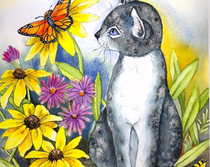 CUSTOM ORDER - CAT; print on watercolor paper, flowers, butterflies, matted, hand painted on mat, one of a kind print, wall art