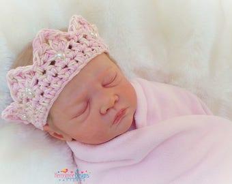 CROCHET CROWN PATTERN - Princess Charlotte Crown - Baby Crochet Crown Pattern Newborn Crown Pattern Photo Prop Crown Prince / Princess Crown