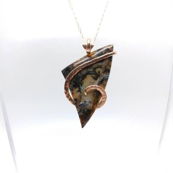 Snake River Dendritic Agate Pendant Necklace | 14kt Rose Gold Filled | Rare Gemstone | Eastern Oregon | Agate Jewelry | Oregon Idaho Agate