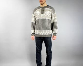 80s Norwegian Wool Brown White Bear Print Warm Pullover, Warm knit Christmas Sweater, Ski Iceland Jumper, Oversized Boyfriend knitwear Sz L