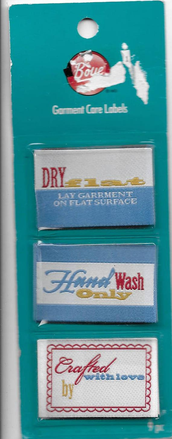 Puppy Bows ~ craft supplies Handmade Garment sweater care labels 9 pc Boye dry flat hand wash crafted with love (cs3)