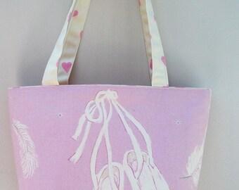 Swan Lake Ballerina tote bag, Ballet themed tote bag, Ballet bag, Ballet gift, gift for her, gift for ballerina, Long handled tote bag,