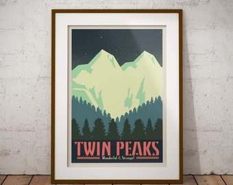 Twin Peaks poster (vintage inspired travel poster; alternative poster; minimalist poster)