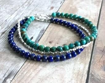 Genuine Turquoise Bracelet, Sterling Silver Real Turquoise Jewelry, Women's / Men's Small Stone Bracelet, Tiny Bead Single Strand Bracelet