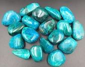 "Premium Chrysocolla Tumbled Stone 1"" - 1.25"" Teal Blue Green Throat Chakra Crystal"