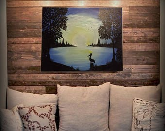 Pelican Sunset 16x20 Acrylic Painting