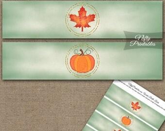 Autumn Pumpkin Water Bottle Labels - Fall Season Water Bottle Wraps - Pumpkin Maple Leaf Thanksgiving Party Decorations AUTP