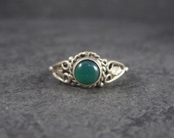 Vintage Sterling Green Onyx Heart Ring Size 6.5
