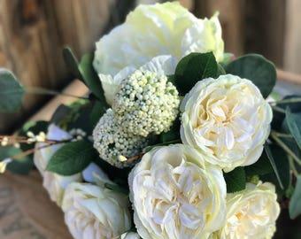 Handmade Floral Bouquet--Wedding Bouquet--Bridal Bouquet--Bridal Flowers--Bouquet of Silks --Ribbon Wrapped Bouquet--Handheld Bouquet