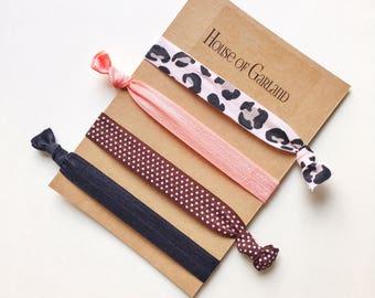 Girlie set of 4 FOE hair ties - No Crease hair ties - Girls hair ties - FOE hair ties - Hair accessories - Ponytail - Hair Elastics