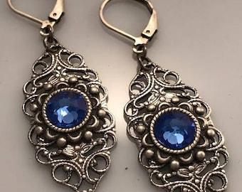 Blue Swarovski Earrings - Victorian Earrings - Dawn Santucci - Metal di Muse - Ornate Earrings - Filigree Earrings