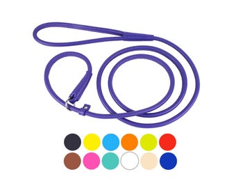 Dog Leash, Dog Slip Lead, Dog Show Slip Lead, Rolled Leather Slip Lead Collar