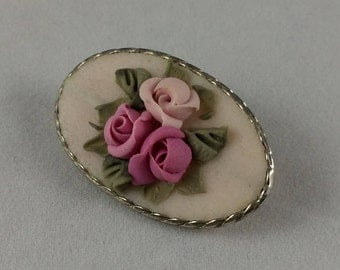 Vintage Clay Flover Oval Brooch Handmade Hand Made Jewelry Roses Flowers