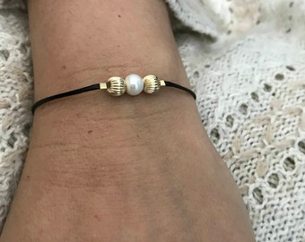 Pearl and Black cord Bracelet-Gold Filled and Pearld Bracelet -Pearl Bracelet-Black Waxed Cord Bracelet -Minimalist Modern-Handmade in U.S.A