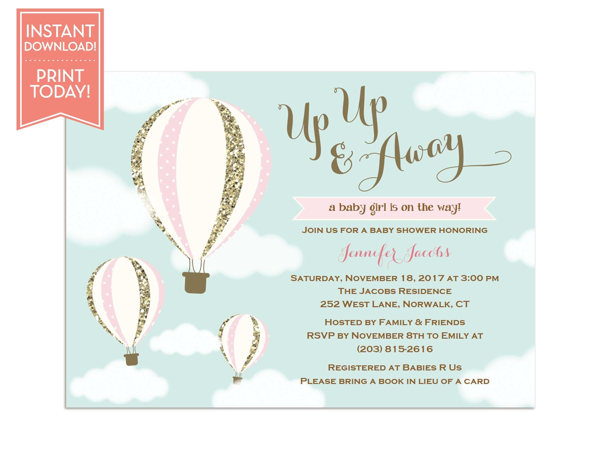 Hot Air Balloon Invitation Template Baby Shower Birthday