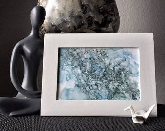 Small abstract painting | framed abstract art | glitter art | fluid painting | alcohol ink art | modern abstract | original blue wall art