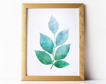 Leaves art print, Leaves wall art, Bathroom wall decor PRINTABLE wall art, Modern nature art print, Blue and Green art print, Printable art