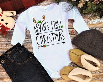 My 1st Christmas Boy, Rustic Woodland Baby Christmas Outfit, PERSONALIZED Baby Boy Christmas Bodysuit, Baby's First Christmas, Applecopter