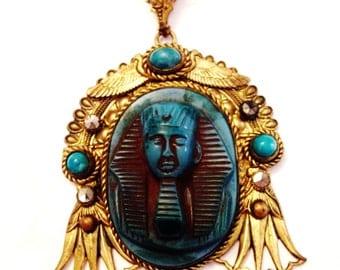 Vintage Czech Egyptian Revival Art Deco Neiger Brothers Glass Pharoah Necklace