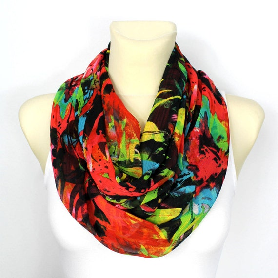 Boho Infinity Scarf Floral Infinity Scarf Printed Scarf Bohemian Shawl Gift Mom Mothers Day from Husband Summer Outdoors, Summer Party