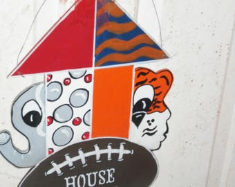 house divided door hanger - football house divided - wood door hanger - alabama / auburn -  door hangers
