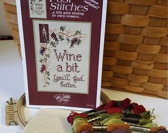"DIY Cross stitch kit ""Wine a little"" Complete Cross stitch kit with loom-Sue Hillis cross stitch kit-"