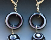 Tribal Earrings in Black & White: handmade glass lampwork beads with sterling silver components