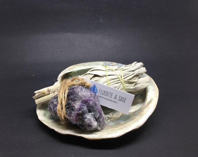 Smudge Kit Abalone shell, Fluorite  & White Sage WSHFLUO01