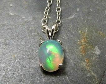 Ethiopian Opal Pendant Opal Necklace - Sterling Silver Setting - Welo Opal Pendant 9x7