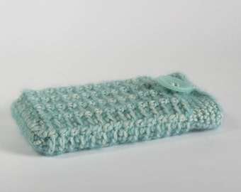 Grey or green crochet handmade phonecosy with a matching button, Iphone 5, phone case.