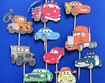 Disney's Cars cupcake toppers, Cars cupcake toppers, cars and trucks party, Disney Cars party, Mater, Lightening, Sally, Doc, Disney Cars