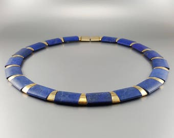 Lapis lazuli collier/necklace with 14K gold plate - natural afghan Lapis - blue and gold necklace - Statement necklace - gift Christmas