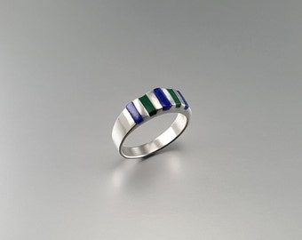 Ring with Lapis Lazuli and Malachite set in Sterling silver - gift idea - striped band - multi color - natural gemstone - AAA Grade gemstone