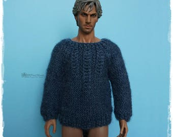 1/6 ACTION FIGURE Sweater, Jumper, male fashion dolls - Knitted Patterned Blue Gray Sweater #37