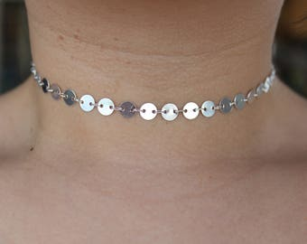 Silver Coin/Sequin Chain Choker Necklace.