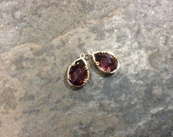 Amethyst Purple Bezel Set Faceted Glass Charms Teardrop Shaped Faceted Pendant Charms  in Gold finish