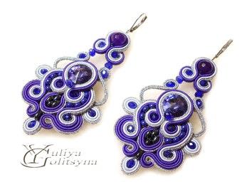 Soutache earrings Violet Earrings Dangle Soutache earrings Swarovski Crystal violet jewelry earrings chandelier