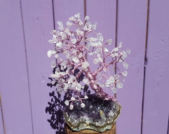 Rose Quartz Stones, Amethyst Cluster, Crystal Tree, Wrapped Wire Decor, Gemstone Decoration, Housewarming Gift, Spiritual Present