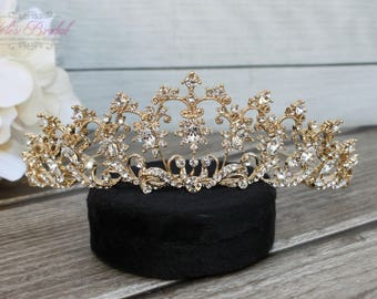 FAST Shipping!!! Gold Swarovski Tiara,  CristalTiara, Wedding Tiara, Crown, Princess Tiara, Quinceañera Tiara, Sweet 16 Tiara, Confirmation