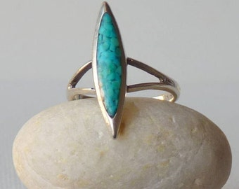 Sterling Silver and Turquoise Chip Inlay Ring, Blue Turquoise, Southwestern Turquoise Ring Size 5 1/2 Turquoise 925 Ring, Turquoise Jewelry