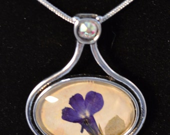 Pressed Flower Pendant, Lobelia, real flower, silver,Pressed Flower Jewelry,Mothers Day, Bridesmaid Gift ,Personalize