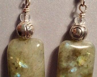 Labradorite Earrings, Labradorite Stone, Green Labradorite, Rectangle Labradorite