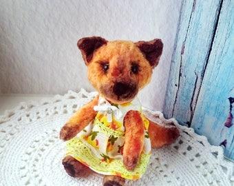 Teddy Fox Miniature vintage plush OOAK pocket art toy Kids Room Decor Cute fox collectible teddy bears
