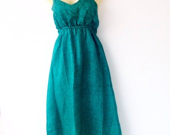 Silk Summer Dress made from Re-Purposed Silk Saris from India // Teal/Turquoise Dress // Medium dress // summer dress  / boho dress