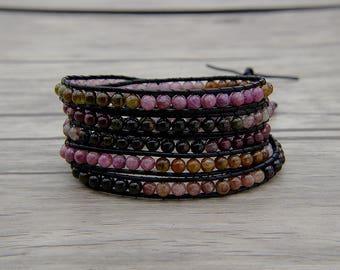 5 Wraps bracelet leather wrap bracelet multicolors bracelet Boho Bracelet Tourmaline agate beads bracelet Christmas gift  jewelry SL-0564
