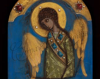 Orthodox Icon Painting on Wood, Religious Wall Art, Religious Icon, Christian Icon Guardian Angel Byzantine Icon Easter Icon Easter Painting