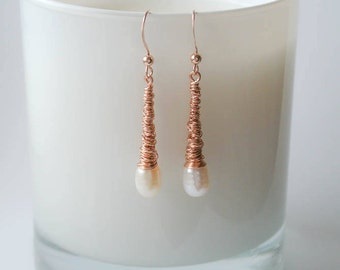 Rose Gold Wrapped Pearl Drop Earrings - Ivory White Freshwater Pearl and 14K Rose Gold Filled Wire Wrapped Drop Earrings