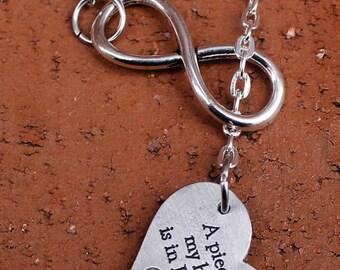 "Infinity Necklace - ""A piece of my heart is in Heaven"", Memorial jewelry, Grieving family, Bereavement keepsake, Angel in heaven"