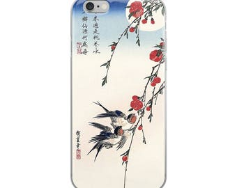 Japanese bird iPhone case, pretty Asian woodblock print, great for nature lovers, flower lovers, and bird lovers
